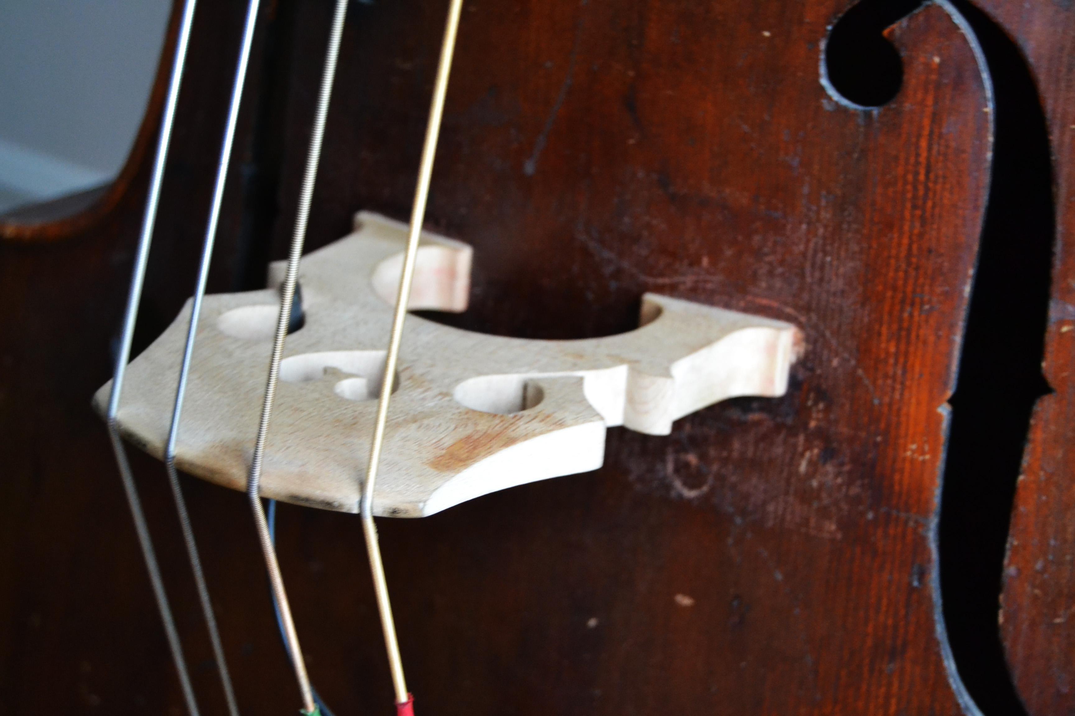 Close-up af kontrabassens bro, anden vinkel